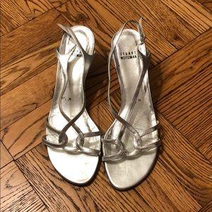 Silver Stuart Weitzman strappy kitten heels